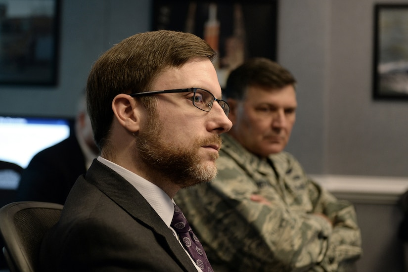 Jamie Morin, director of cost Assessment and Program Evaluation, listens to a briefing about F-35 cost tracking software developed by the Pentagon and contractor Lockheed Martin at the Pentagon in Arlington, Va. Nov. 1, 2016.  (DoD photo by EJ Hersom)