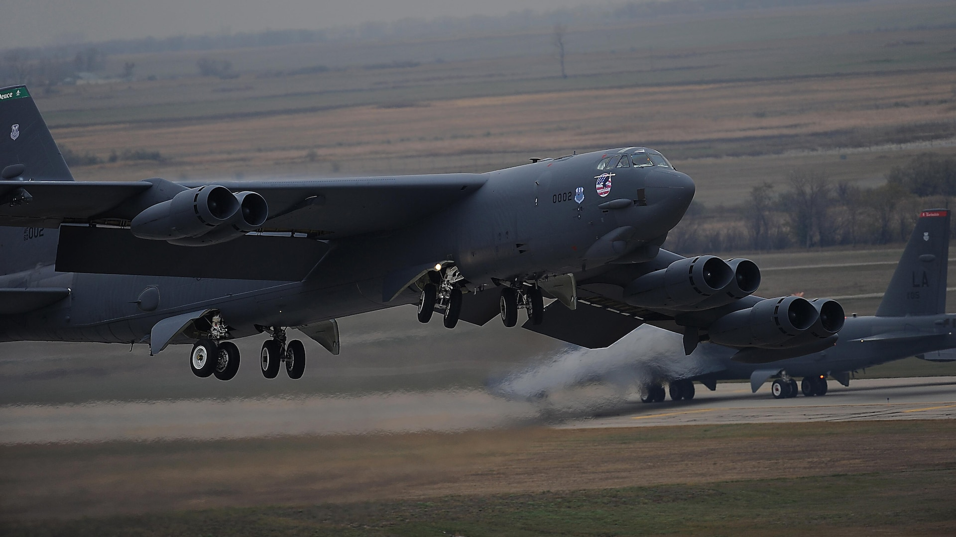 A B-52H Stratofortress assigned to Air Force Global Strike Command (AFGSC) takes off from the flightline at Minot Air Force Base, N.D., Oct. 30, 2016, during exercise Global Thunder 17. AFGSC supports U.S. Strategic Command's (USSTRATCOM) global strike and nuclear deterrence missions by providing strategic assets, including bombers like the B-52 and B-2, to ensure a safe, secure, effective and ready deterrent force. Global Thunder is an annual training event that assesses command and control functionality in all USSTRATCOM mission areas and affords component commands a venue to evaluate their joint operational readiness. (U.S. Air Force photo by Tech. Sgt. Evelyn Chavez)