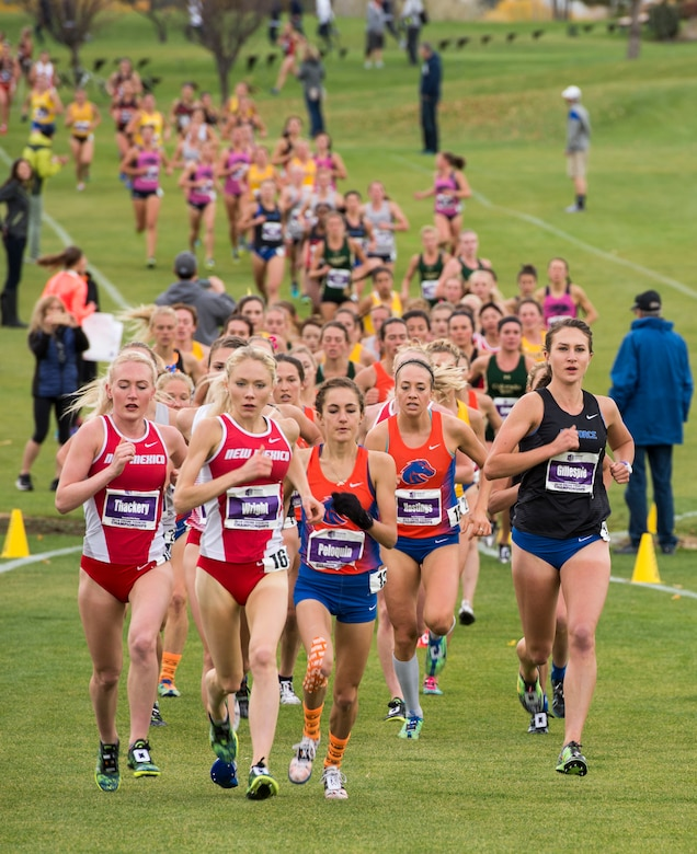Women run the Mountain West Conference Championship race Oct. 28, 2016, at the Falcon Crest Golf Club in Kuna, Idaho. New Mexico University won the event with 42 points. The Air Force Academy placed second marking the highest finish ever for the program in the conference race. (U.S. Air Force photo by Airman 1st Class Chester Mientkiewicz/Released)