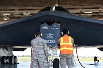 Crew chiefs from the 509th Aircraft Maintenance Squadron prepare a B-2 Spirit for takeoff during Exercise Global Thunder 17 at Whiteman Air Force Base, Mo., Oct. 27, 2016. GT17 is a training opportunity to exercise all U.S. Strategic Command mission areas and create the conditions for strategic deterrence against a variety of threats. (U.S. Air Force photo by Senior Airman Joel Pfiester)