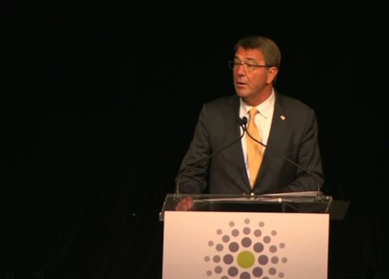 "Defense Secretary Ash Carter speaks at the charity fundraiser gala ""Stand Up For Heroes"" in New York City, Nov. 1, 2016. The event raised money for injured service members and their families. DoD video still"