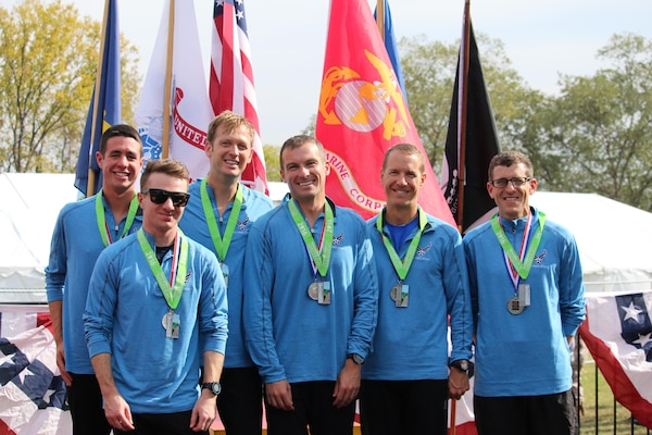 Air Force wins team silver of the Men's Armed Forces Marathon Championship.  The 2016 Armed Forces Marathon is held in conjunction with the 41st Marine Corps Marathon on 30 October in Washington, D.C.  Air Force Overall Results: 6th - 2d Lt Sean O'Hollern, JB Langley-Eustis, Va. - 2:35:58; 7th - 1st Lt Isaiah Bragg, Wright-Patterson AFB, Ohio - 2:39:29; 11th - Maj Bryan Kelly, Edwards AFB, Calif. - 2:43:06; 14th - Maj Brian Dumm, Pentagon, Washington, D.C. - 2:46:19; 18th - Col Douglas Wickert, Las Vegas, N.V. - 2:50:04;  21st - Lt Col Mark Cucuzzella, Wright-Patterson AFB, Ohio - 2:55:26