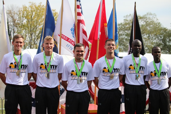 Army wins Armed Forces Men's Marathon gold.  The 2016 Armed Forces Marathon is held in conjunction with the 41st Marine Corps Marathon on 30 October in Washington, D.C. 1st - SPC Samuel Kosgei, Fort Riley, Kan. - 2:23:53; 2nd - CPT Kenneth Foster, Denver, Colo. - 2:28:02; 3rd - SPC David Kiplaget, Fort Carson, Colo. - 2:33:31; 4th - CPT Chad Ware, Fort Bragg, N.C. - 2:33:57; 9th - SSG Norman Mininger, Fort Leavenworth, Kan. - 2:40:42; 23rd - 1LT Bryce Livingston, Fort Drum, N.Y. - 3:04:17