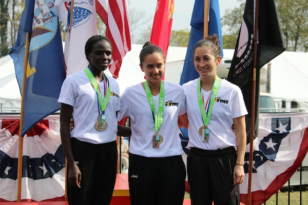Army captures Armed Forces Women's Marathon Gold. The 2016 Armed Forces Marathon is held in conjunction with the 41st Marine Corps Marathon on 30 October in Washington, D.C. From left to right: Pfc. Susan Tanui, Fort Riley, Kan. - 3:06:26; Capt. Meghan Curran, Denver, Colo. - 2:53:19; Capt. Nicole Solana, JB Lewis-McChord, Wash. - 3:13:58