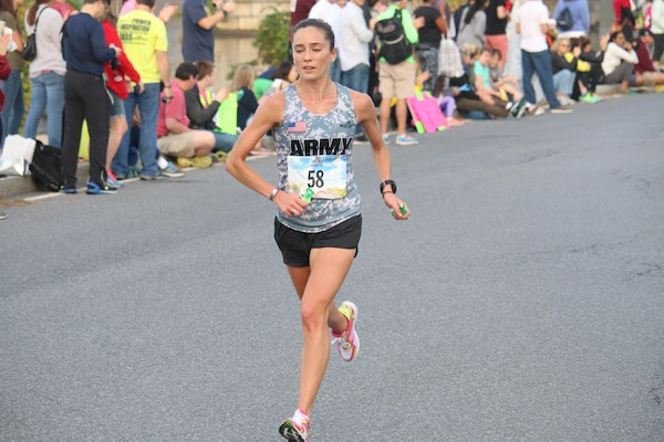 Army Capt. Meghan Curran of Denver, Colo. captures Armed Forces Women's Individual Gold and leads Army to Team Gold with a time of 2:53:19.  Curran also placed 2nd overall in the Marine Corps Marathon Women's Division.  The 2016 Armed Forces Marathon is held in conjunction with the 41st Marine Corps Marathon on 30 October in Washington, D.C.
