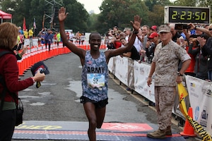 Army Spec. Samuel Kosgei (Fort Riley, Kansas) crossed the finish line with a time of 2:23:53 to win his second Marine Corps Marathon and Armed Forces gold. The 2016 Armed Forces Marathon is held in conjunction with the 41st Marine Corps Marathon on 30 October in Washington, D.C.