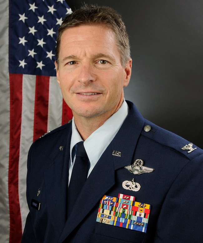 Portrait of U.S. Air Force Col. Scott Bridgers, commander of the 169th Maintenance Group at McEntire Joint National Guard Base, S.C., Oct. 28, 2016. (U.S. Air National Guard photo by Airman 1st Class Megan Floyd)