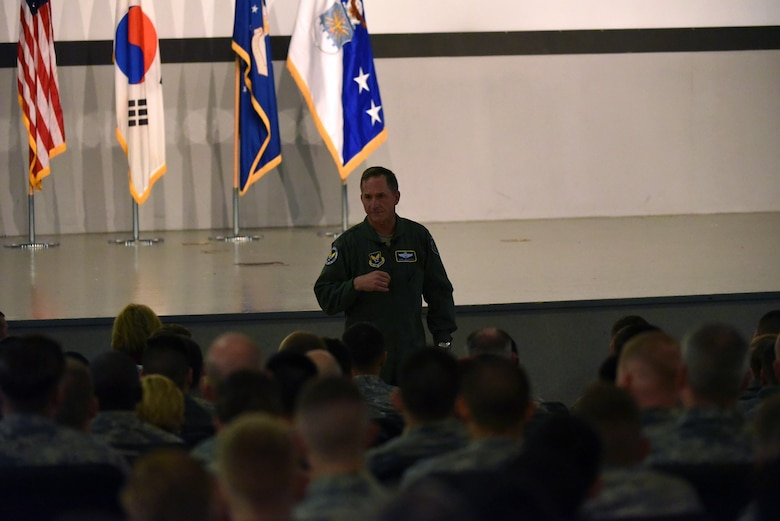 Air Force Chief of Staff, Gen. David L. Goldfein, speaks to airmen in the base theater during an all call at Kunsan Air Base, Republic of Korea, Nov. 2, 2016. Goldfein traveled to Kunsan to meet with airmen and discuss his focus areas as Air Force Chief of Staff as well as the Air Force mission throughout the Pacific region.  (U.S. Air Force photo by Tech. Sgt. Jeff Andrejcik/Released)