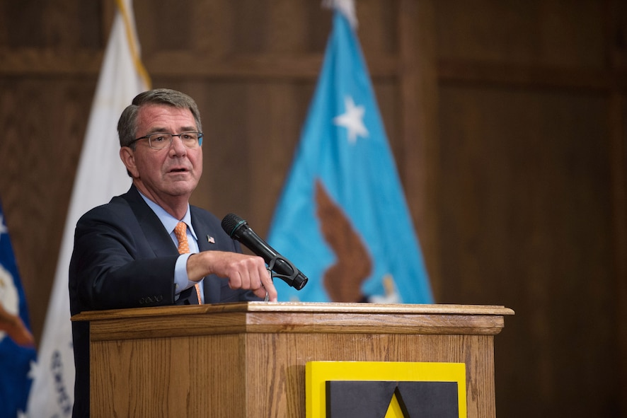 Defense Secretary Ash Carter speaks to troops at Fort Leonard Wood.