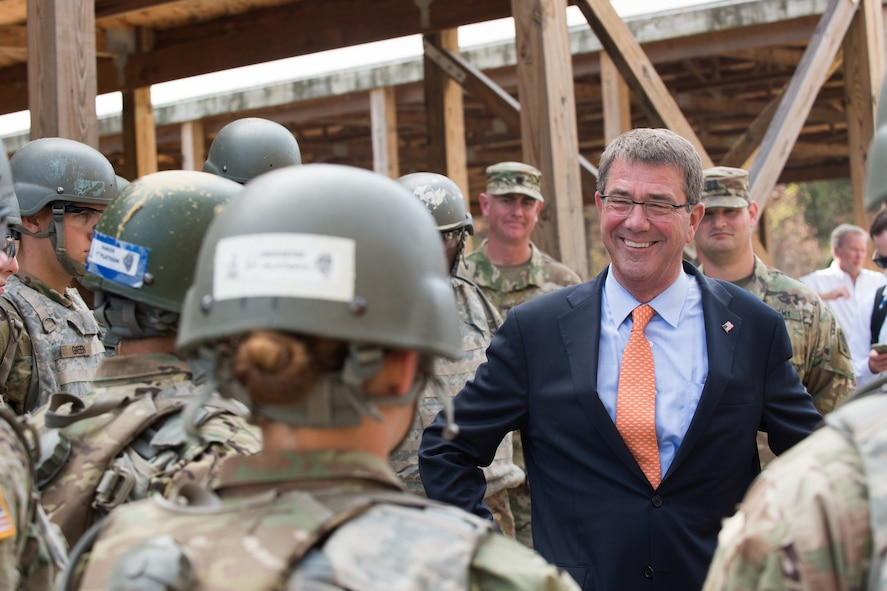 Defense Secretary Ash Carter speaks to soldiers who are completing their advanced individual training at Fort Leonard Wood.