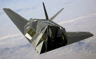 An Air Force F-117A Nighthawk stealth fighter aircraft flies over Nellis Air Force Base in Nevada in 2002. Stealth capabilities used during Operation Desert Storm in 1991 were part of the Defense Department's second strategy to maintain the U.S. advantage on the world's battlefields. DoD's Third Offset Strategy is geared toward the nation's 21st-century challenges. Air Force photo by Staff Sgt. Aaron Allmon II