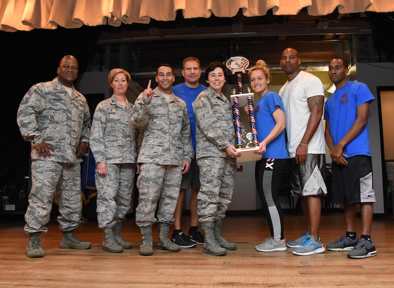 Members of the 81st Dental Squadron are presented the first place trophy by Col. Jeannine Ryder, 81st Medical Group commander, during the 81st MDG Push-up Competition at the Keesler Medical Center Don Wylie Auditorium Nov. 1, 2016, on Keesler Air Force Base, Miss. Seven five-person teams competed in the event pushing out a total of 6,272 push-ups. The 81st Dental Squadron accumulated 1,127 push-ups. The Airmen who participated in the event raised money to support the Krewe of Medics Mardi Gras Ball. (U.S. Air Force photo by Kemberly Groue/Released)