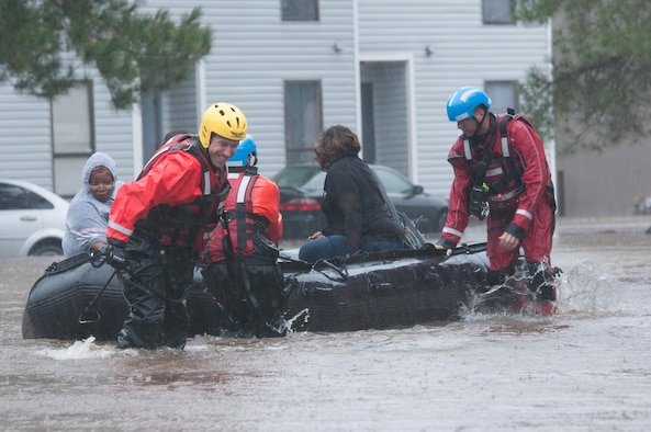 North Carolina emergency services evacuate residents of a neighborhood that fell victim to the flooding caused by Hurricane Matthew in Fayetteville, N.C., Oct 08, 2016. Heavy rains caused by Hurricane Matthew have led to flooding as high as five feet in some areas. (U.S. Army National Guard photo by Staff Sgt. Jonathan Shaw, 382nd Public Affairs Detachment/Released)