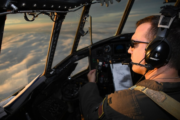 Capt. Michael Edwards, 700th Airlift Squadron pilot, flies a C-130H Hercules over Poland Oct. 13, 2016. The 94th Airlift Wing, from Dobbins Air Reserve Base, Ga., worked jointly with the Polish air force during Aviation Detachment 17-1 in support of Operation Atlantic Resolve, Oct. 3-28. (U.S. Air Force photo by Staff Sgt. Alan Abernethy)
