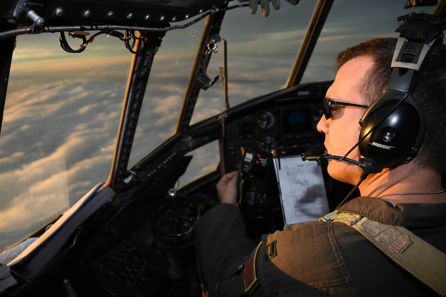 Capt. Michael Edwards, 700th Airlift Squadron pilot, flies a C-130H Hercules over Poland Oct. 13, 2016. The 94th
