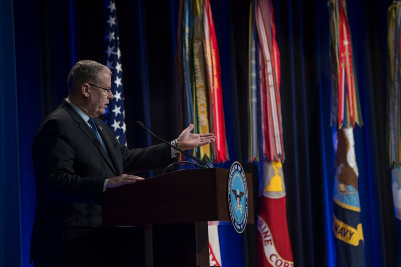 Defense Deputy Secretary Bob Work hosts the 61st annual Department of Defense Distinguished Civilian Service Awards at the Pentagon, Nov. 3, 2016. DoD photo by Air Force Tech. Sgt. Brigitte N. Brantley