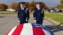 Members of the Whiteman Air Force Base Honor Guard practice a six-man funeral ceremony at Whiteman Air Force Base, Mo., Nov. 2, 2016. Made up of members from different units throughout the base, the Whiteman Honor Guard performs funeral and military honors in support of 99 counties in Missouri and 19 counties in Kansas, covering more than 70,000 square miles, one of the biggest areas of responsibility in all of Air Force Global Strike Command. (U.S. Air Force photo by Senior Airman Joel Pfiester)