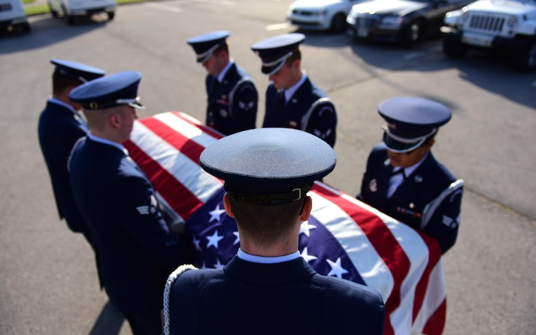 Members of the Whiteman Air Force Base Honor Guard practice a six-man funeral ceremony at Whiteman Air Force Base, Mo., Nov. 2, 2016. The Whiteman Honor Guard performs a wide array of ceremonies from color guard details to saber teams for weddings, however, the primary mission of the Whiteman Honor Guard is to provide funeral honors for veterans, retirees and active-duty members. (U.S. Air Force photo by Senior Airman Joel Pfiester)