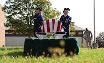 Members from the Whiteman Air Force Base Honor Guard practice pallbearing during a simulated funeral at Whiteman Air Force Base, Mo., Nov. 2, 2016. The Whiteman Honor Guard provides a two-man team for Air Force veterans, who perform a flag fold and the playing of taps, a six-man team for retirees, who perform a flag fold, taps and a firing party; and for active-duty members, a full team of 21 members who will perform the flag presentation, taps and a firing party. (U.S. Air Force photo by Senior Airman Joel Pfiester)