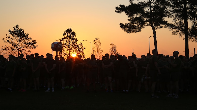 Thousands of Marines and sailors gather prior to a Marine Corps birthday run at Marine Corps Air Station Cherry Point, N.C., Nov. 3, 2016. The run celebrated the 241st Marine Corps birthday and strengthened pride, esprit de corps, and camaraderie among all Marines and Sailors aboard the air station. (U.S. Marine Corps photo by Lance Cpl. Mackenzie Gibson/Released)