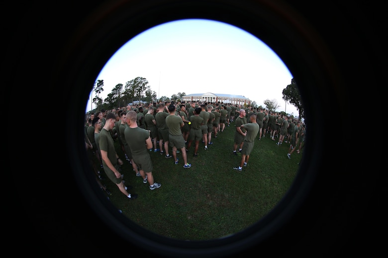Thousands of Marines and sailors gather prior to a Marine Corps birthday run at Marine Corps Air Station Cherry Point, N.C., Nov. 3, 2016. The run celebrated the 241st Marine Corps birthday and strengthened pride, esprit de corps, and camaraderie among all Marines and Sailors aboard the air station. (U.S. Marine Corps photo by Sgt. N.W. Huertas/Released)