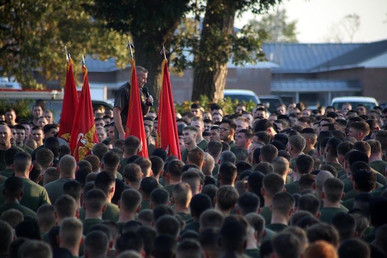 Sgt. Maj. Richard D. Thresher addresses thousands of Marines and Sailors after completing a Marine Corps birthday run at Marine Corps Air Station Cherry Point, N.C., Nov. 3, 2016. The run celebrated the 241st Marine Corps birthday and strengthened pride, esprit de corps, and camaraderie among all Marines and Sailors aboard the air station. (U.S. Marine Corps photo by Sgt. N.W. Huertas/Released)