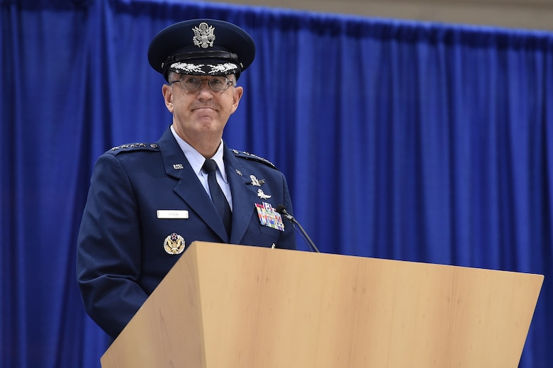 Gen. John E. Hyten, commander of U.S. Strategic Command (USSTRATCOM) provided remarks during the change of command ceremony at Offutt Air Force Base, Neb., Nov. 3, 2016. Secretary of Defense Ash Carter presided over the change of command and provided remarks during which he congratulated Hyten on his appointment as the new USSTRATCOM commander. He also thanked Adm. Cecil D. Haney, outgoing USSTRATCOM commander, for his service. Additionally, Chairman of the Joint Chiefs of Staff Gen. Joseph F. Dunford provided remarks during the ceremony and presented the Joint Meritorious Unit Award to USSTRATCOM. Hyten previously served as commander of Air Force Space Command, and Haney will retire from active military duty during a separate ceremony in January. One of nine DoD unified combatant commands, USSTRATCOM has global strategic missions assigned through the Unified Command Plan that include strategic deterrence; space operations; cyberspace operations; joint electronic warfare; global strike; missile defense; intelligence, surveillance and reconnaissance; combating weapons of mass destruction; and analysis and targeting. (U.S. Air Force photo by Staff Sgt. Jonathan Lovelady)