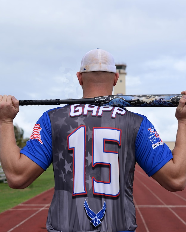 Staff Sgt. Garrett Gapp, 36th Maintenance Squadron, NCO in charge of maintenance flight, poses for a photo Oct. 31, 2016 at Andersen Air Force Base, Guam. Gapp was selected out of 51 applicants to try-out and was one of 23 men to make the All-Air Force Men's Slow Pitch Softball Team this year as a first basemen. The team brought home the silver medal this year with a record of 5-4. (U.S. Air Force photo by Senior Airman Cierra Presentado/Released)