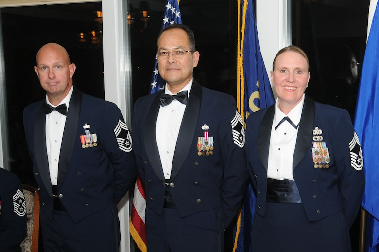 120th Airlift Wing Chief Master Sgts. John Weber, Osvaldo Mendez and Teresa Parker were inducted to the top enlisted rank during the Montana Air National Guard Chief Induction Ceremony held at the Meadowlark Country Club in Great Falls, Mont., Sept. 30, 2016. (U.S. Air National Guard photo by Senior Master Sgt. Eric Peterson)