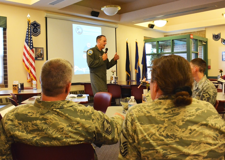 """120th Airlift Wing Commander Col. Lee Smith discusses the 120AW Strategic Plan with Airmen during his third """"lunch and learn"""" event held in the 120th AW dining facility during the regularly scheduled drill Oct. 2, 2016. The plan outlines the mission, vision, priorities, goals and objectives for the 120th AW for the next two years. (U.S. Air National Guard photo by Senior Master Sgt. Eric Peterson)"""