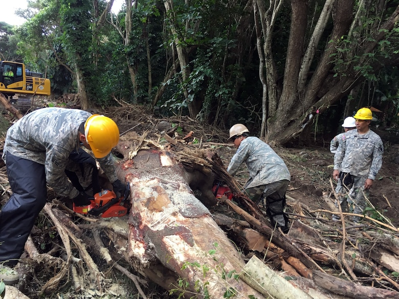 Maui island based Hawaii National Guard Airmen and Soldiers work to remove debris from the Wailuku river September 2016. Storm generated heavy rains on Sep. 13th caused river swelling and flash flooding impacting area residents and damaging property and infrastructure. The service members volunteered for state active duty from Sep. 21 to Sep. 27 for domestic operations to provide humanitarian asistance. (courtesy photo)