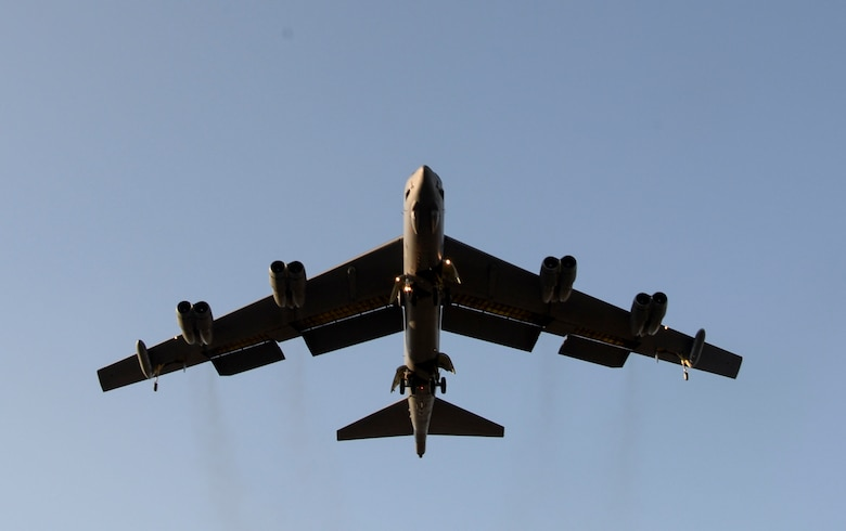 A B-52 Stratofortress prepares to land at Barksdale Air Force Base, La., Oct. 30, 2016 after supporting U.S. Strategic Command exercise Global Thunder 17.  Exercise Global Thunder is USSTRATCOM's annual field training and battle staff exercise to train Department of Defense forces and assess joint operational readiness. GT17 provided training opportunities to and exercise scenarios for all USSTRATCOM mission areas, with specific focus on nuclear readiness. (U.S. Air Force photo/Senior Airman Amanda Morris)