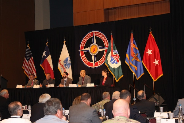 Jeremy Beckwith (second from left), support services division chief at DLA Distribution Corpus Christi, Texas, was invited to participate in the Army Corrosion Reduction Strategy panel held during the forum.