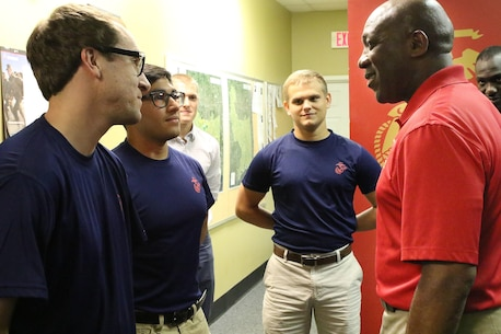 The 18th Sergeant Major of the Marine Corps, Ronald L. Green, visits Marines assigned to Marine Corps Recruiting Station Baton Rouge and poolees in Gulfport, Miss., Oct. 26, 2016. (U.S. Marine Corps Photo by Sgt Rubin J. Tan/Released)