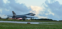 A B-1B Lancer, assigned to the 34th Expeditionary Bomb Squadron, deployed from Ellsworth Air Force Base, S.D., takes off Oct. 25, 2016, at Andersen AFB, Guam. The aircraft is deployed in support of the U.S. Pacific Command's Continuous Bomber Presence operations. (U.S. Air Force photo/Senior Airman Arielle Vasquez)