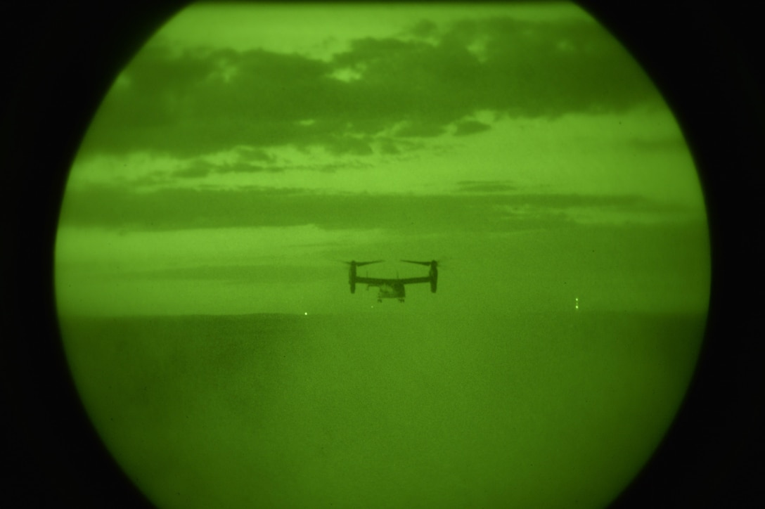 A CV-22 Osprey provides overhead support for U.S. Naval Special Warfare personnel during infiltration and exfiltration exercises at Fort Polk, La., during exercise Southern Strike 17, Oct. 28, 2017. The exercise emphasized air-to-air, air-to-ground and special operations forces training opportunities. These events are integrated into demanding hostile and asymmetric scenarios with actions from specialized ground forces and combat and mobility air forces. (U.S. Air Force photo/Senior Airman Trevor T. McBride)