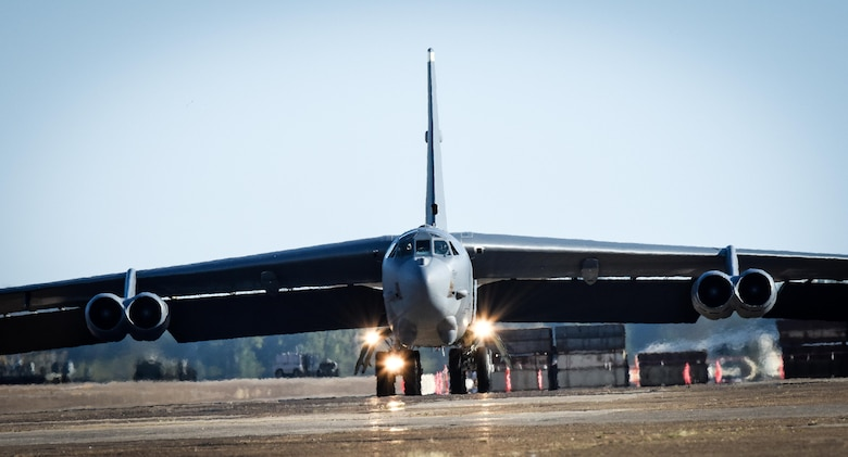 A B-52 Stratofortress taxis down the flightline at Barksdale Air Force Base, La., Oct. 30, 2016, after supporting U.S. Strategic Command exercise Global Thunder 17. Global Thunder is an annual STRATCOM-sponsored command post and field training exercise designed to test and validate command, control and operational procedures. (U.S. Air Force photo/Senior Airman Luke Hill)