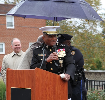 Retired U.S. Marine Corps Lt. Gen. Ronald S. Coleman speaks during his street dedication ceremony Oct. 22, 2016, in Darby, Pa. Coleman was being honored as a hometown hero. (U.S. Marine Corps photo by Cpl. Matthew Myers)