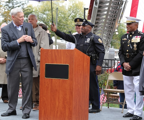 Retired Assistant Commandant of the Marine Corps, Gen. John M. Paxton Jr., speaks during a street dedication ceremony in honor of retired Lt. Gen. Ronald S. Coleman Oct. 22, 2016, in Darby, Pa. Coleman was being honored as a hometown hero. The new street, Ronald S. Coleman Boulevard, replaced 10th Street in Darby. (U.S. Marine Corps photo by Cpl. Matthew Myers)