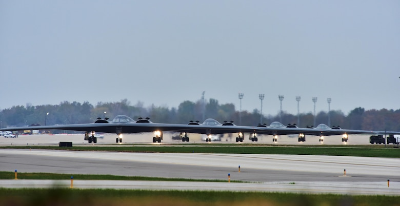 U.S. Air Force B-2 Spirits assigned to Air Force Global Strike Command (AFGSC) prepare to take off from the runway at Whiteman Air Force Base, Mo., Oct 30, 2016, during exercise Global Thunder 17. AFGSC supports U.S. Strategic Command's (USSTRATCOM) global strike and nuclear deterrence missions by providing strategic assets, including bombers like the B-52 and B-2, to ensure a safe, secure, effective and ready deterrent force. Global Thunder is an annual training event that assesses command and control functionality in all USSTRATCOM mission areas and affords component commands a venue to evaluate their joint operational readiness.(U.S. Air Force photo by Senior Airman Jovan Banks)