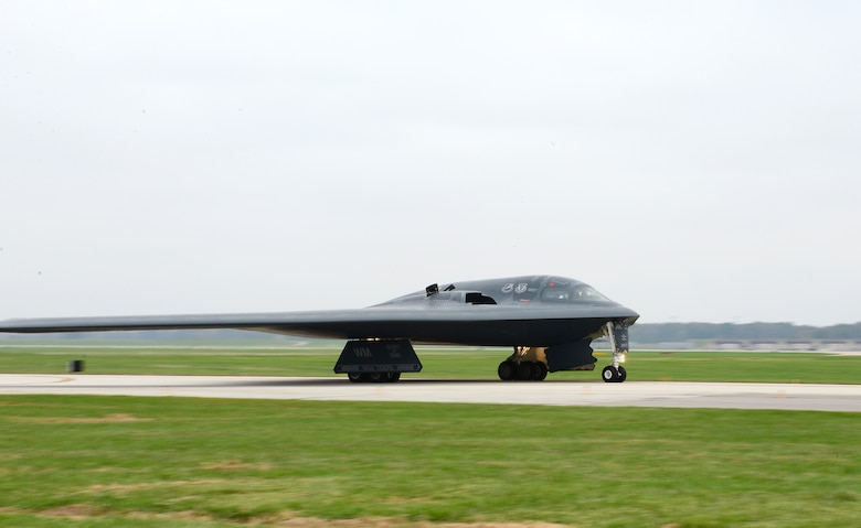 A U.S. Air Force B-2 Spirit assigned to Air Force Global Strike Command (AFGSC) prepare to take off from the runway at Whiteman Air Force Base, Mo., Oct 30, 2016, during exercise Global Thunder 17. AFGSC supports U.S. Strategic Command's (USSTRATCOM) global strike and nuclear deterrence missions by providing strategic assets, including bombers like the B-52 and B-2, to ensure a safe, secure, effective and ready deterrent force. Global Thunder is an annual training event that assesses command and control functionality in all USSTRATCOM mission areas and affords component commands a venue to evaluate their joint operational readiness.(U.S. Air Force photo by Tech. Sgt. Andy Kin)