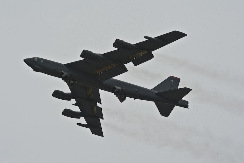A B-52H Stratofortress assigned to Air Force Global Strike Command (AFGSC) flies over Minot Air Force Base, N.D., Oct. 30, 2016, during exercise Global Thunder 17. AFGSC supports U.S. Strategic Command's (USSTRATCOM) global strike and nuclear deterrence missions by providing strategic assets, including bombers like the B-52 and B-2, to ensure a safe, secure, effective and ready deterrent force. Global Thunder is an annual training event that assesses command and control functionality in all USSTRATCOM mission areas and affords component commands a venue to evaluate their joint operational readiness. (U.S. Air Force photo by Airman 1st Class Jonathan McElderry)