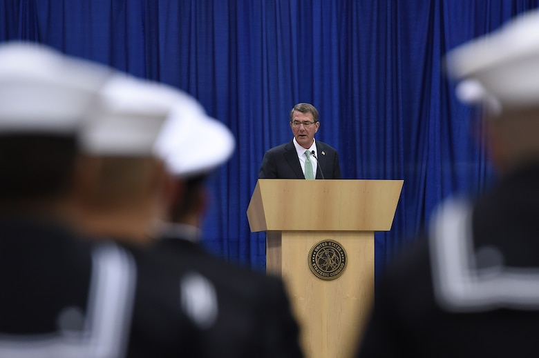 Secretary of Defense Ash Carter provides remarks during the U.S. Strategic Command (USSTRATCOM) change of command ceremony at Offutt Air Force Base, Neb., Nov. 3, 2016. Carter, who presided over the change of command, congratulated Gen. John E. Hyten on his appointment as the new USSTRATCOM commander. He also thanked Adm. Cecil D. Haney, outgoing USSTRATCOM commander, for his service. Additionally, Chairman of the Joint Chiefs of Staff Gen. Joseph F. Dunford provided remarks during the ceremony and presented the Joint Meritorious Unit Award to USSTRATCOM. Hyten previously served as commander of Air Force Space Command, and Haney will retire from active military duty during a separate ceremony in January. One of nine DoD unified combatant commands, USSTRATCOM has global strategic missions assigned through the Unified Command Plan that include strategic deterrence; space operations; cyberspace operations; joint electronic warfare; global strike; missile defense; intelligence, surveillance and reconnaissance; combating weapons of mass destruction; and analysis and targeting. (U.S. Air Force photo by Staff Sgt. Jonathan Lovelady)