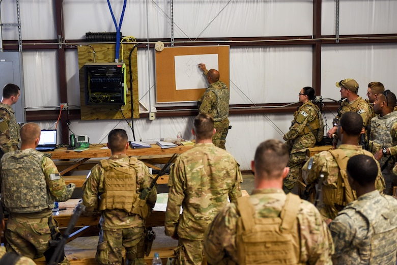 Air Commandos with the 1st Special Operations Mission Support Group are briefed prior to a training mission during Task Force Exercise Southern Strike at Camp Shelby, Miss., Oct. 25, 2016. During the mission students were evaluated on their ability to respond to a possible IED along their route, provide security while meeting with village leaders and finally - react to enemy weapons fire during their convoy's return back to base. (U.S. Air Force photo by Senior Airman Jeff Parkinson)