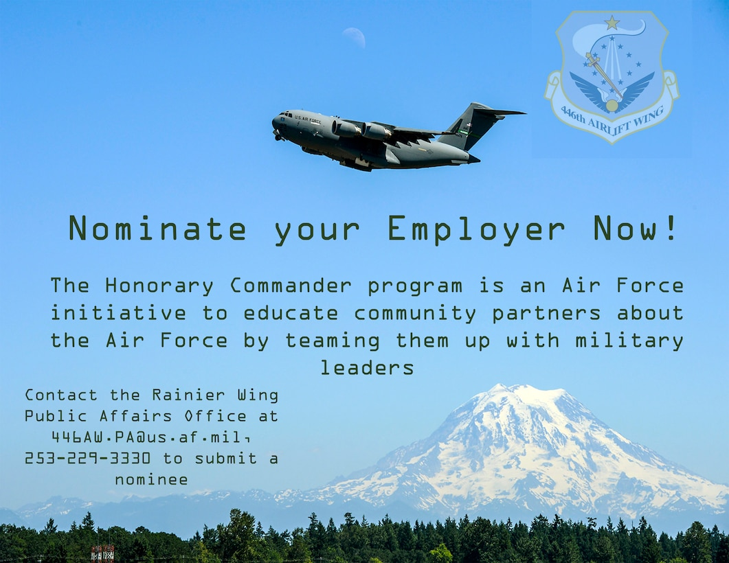 The 446th 'Rainier' Wing is joining the Team McChord Honorary Commander program. The Honorary Commander program is an Air Force initiative to educate community partners about the Air Force by teaming them up with military leaders.