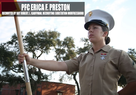 Private First Class Erica F. Preston, honor graduate of platoon 4038, holds her guidon at parade rest before graduation Nov. 4, 2016, aboard Marine Corps Recruit Depot Parris Island, South Carolina.  Preston was recruited out of Recruiting Substation  Murfreesboro by Sgt. Robert L. Kauffman. (Official Marine Corps photo by Cpl. Diamond N. Peden/Released)