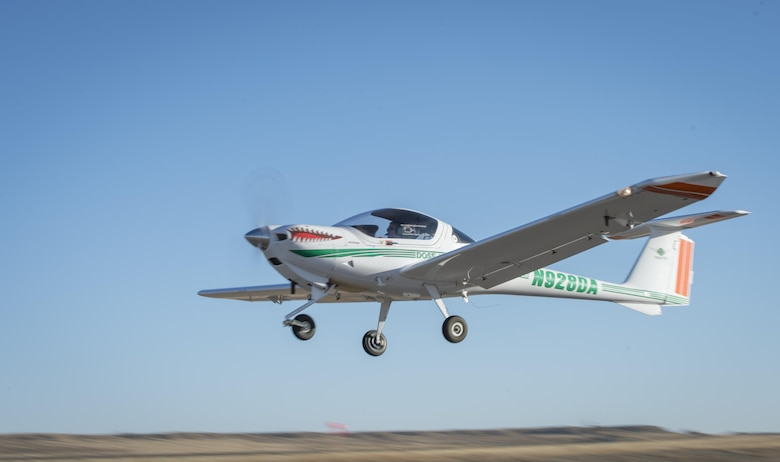 U. S. Air Force Master Sgt. Mike, a student in the Enlisted Pilot Initial Class, takes off in a DA-20 Katana to become the first enlisted Airmen in six decades to complete solo flights during Initial Flight Training at Pueblo Memorial Airport, Pueblo, Colorado, Nov. 3, 2016. The Air Force announced on Dec. 17, 2015, the initiative to train enlisted RPA pilots for RQ-4 Global Hawk flying operations.  (U.S. Air Force photo by Staff Sgt. Cory D. Payne/Released)