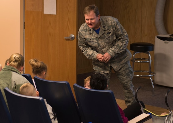 Lt. Col. Sean Higgins, 726th Air Control Squadron commander, gives a mission brief to the first group of children at the Kids Understanding Deployment Operations day Oct. 21, 2016, at Mountain Home Air Force Base, Idaho. The kids were instructed on what the day would entail, from the obstacle course to getting war paint. (U.S. Air Force photo by Airman Jeremy D. Wolff/Released)