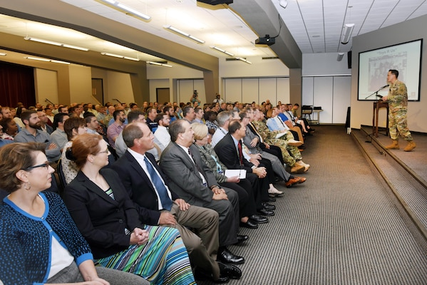 Brig. Gen. Mark Toy, U.S. Army Corps of Engineers Great Lakes and Ohio River Division commander, addresses Nashville District employees Nov. 2, 2016 about his vision during his first visit to Nashville, Tenn., since taking command. (USACE photo by Leon Roberts)