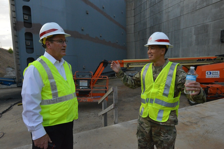 Brig. Gen. Mark Toy, U.S. Army Corps of Engineers Great Lakes and Ohio River Division commander, tours the Kentucky Lock Addition Project in Grand Rivers, Ky., Nov. 2, 2016 as part of a command priority to meet the work force and learn first-hand the national importance of civil works projects during his visit to the Nashville District.